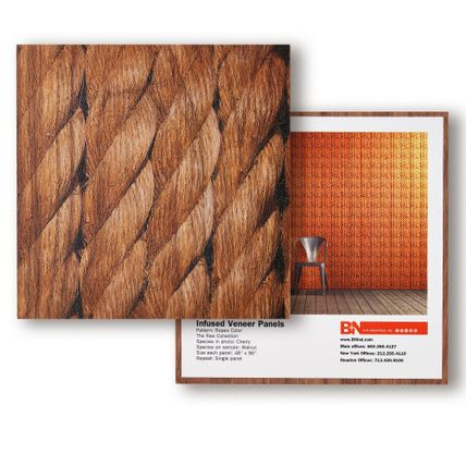 A square tile sample showcasing a close-up shot of four ropes. Another square tile sits below showcasing how the pattern on the first tile would appear across a wall of a room.