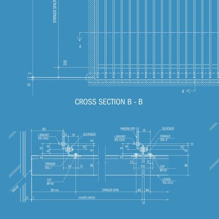 """White technical drawings labelled as """"Cross Section B - B"""" are printed against a blue background."""