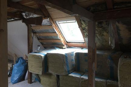 Baustelle im Dachgeschoss.