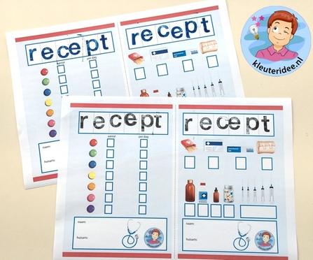 Recept dokter stempelen, thema ziek zijn, kleuteridee, free printable 2