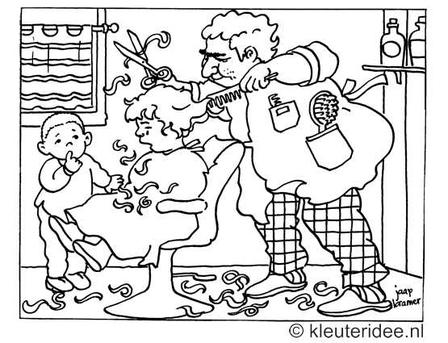 kleurplaat bij de kapper, haren knippen, kleuteridee.nl.