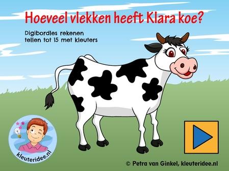 Digibordles tellen tot 15, kleuteridee.nl, gecijferdheid thema de koe, cow counting Kindergarten IWB.