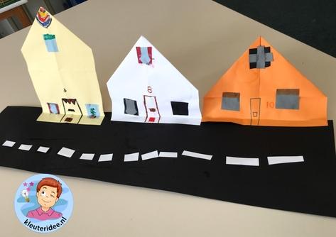 Straat vouwen en plakken, kleuteridee, thema post en pakket 3