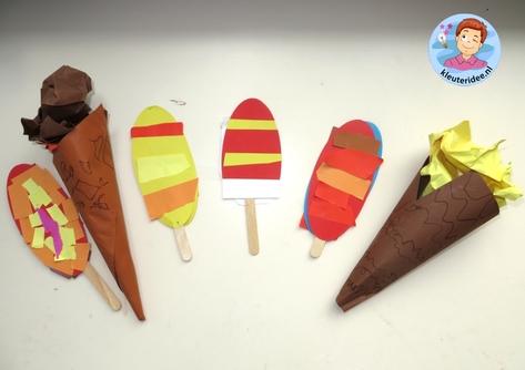ijsjes maken met kleuters met kleuters, kleuteridee.nl, preschool camping theme.