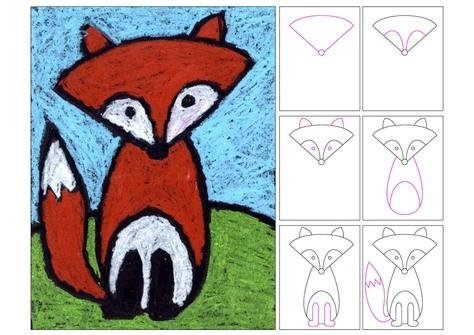 Een vos tekenen, kleuteridee.nl, stap voor stap met kleuters