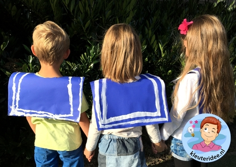 Matrozenkraag knutselen 2, kleuteridee, kindergarten sailor collar craft
