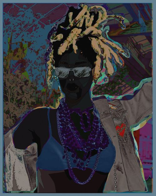 woman with braids tied up on top of her head, with sunglasses and heavy layers of beads wrapped around her neck
