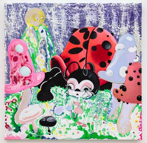 ladybug in colourful garden of mushrooms