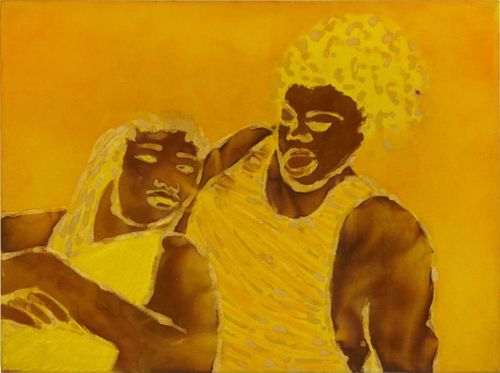 A female figure leaning back to rest on a male figure, set against a yellow background