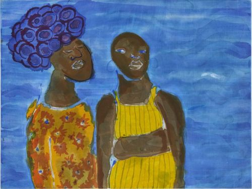 Two black women stood next to each other against a blue background