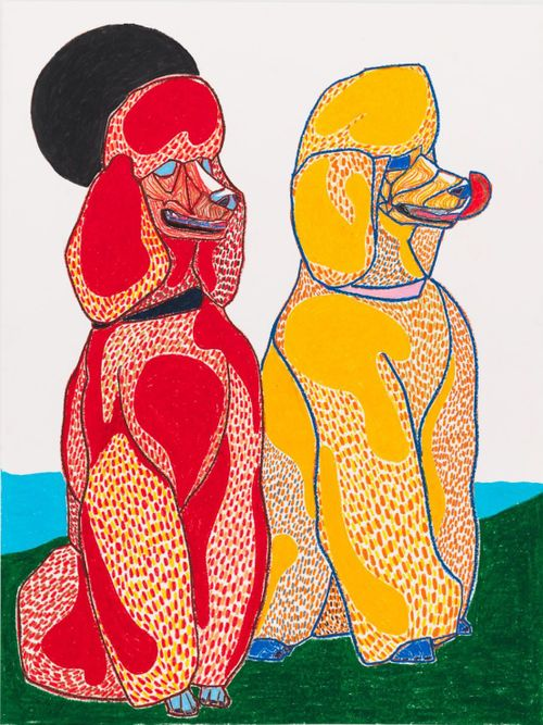 a red and a yellow spotty poodle sit next to one another on green grass