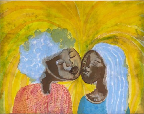 Two women leaning towards each other with their eyes shut, both with blue hair set amongst a yellow background