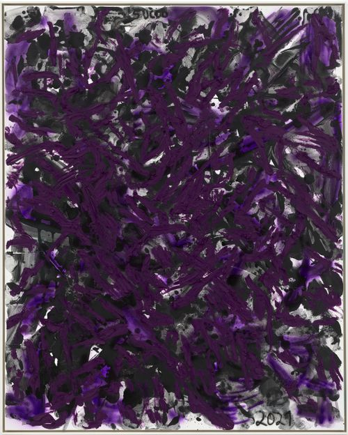 abstract purple and black lines layered over one another across the canvas