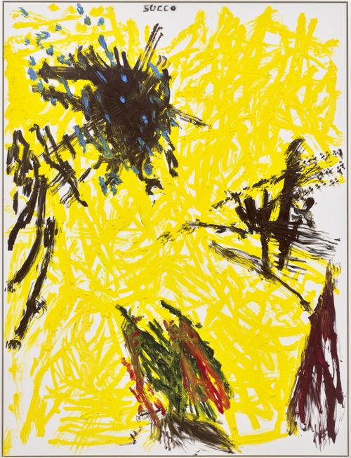 abstract painting of yellow overlapping lines with black details over the top