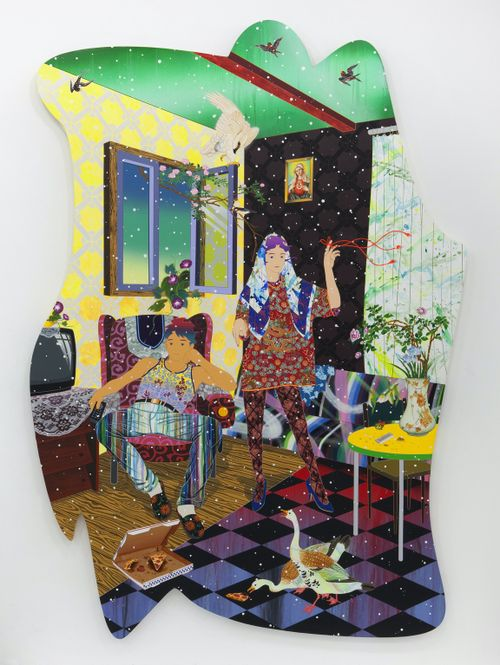 bright colours and patterns make up a domestic scene of a woman standing in a room and man sat in an armchair with two ducks in front of them