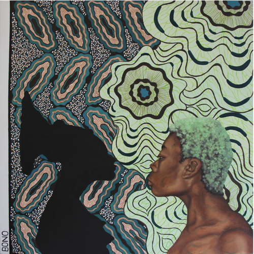 Side-profile of a black woman with green hair leaning forwards, looking as if she is about to kiss the silhouette of another woman opposite her