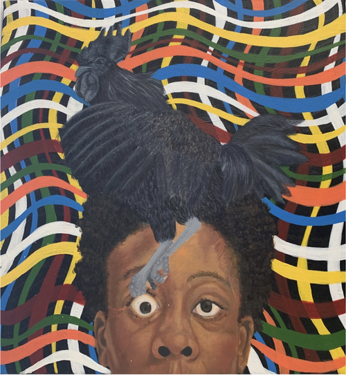 Head of a black man with hair on top of his head arranged into the shape of a rooster