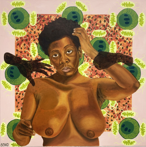 nude black woman with two dark hands grabbing her as she reaches up to touch her hair