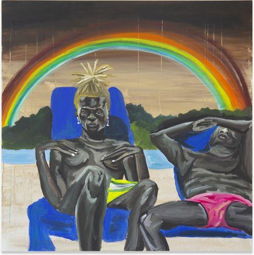 couple sat sunbathing on blue chairs with dark rainy sky and rainbow above them