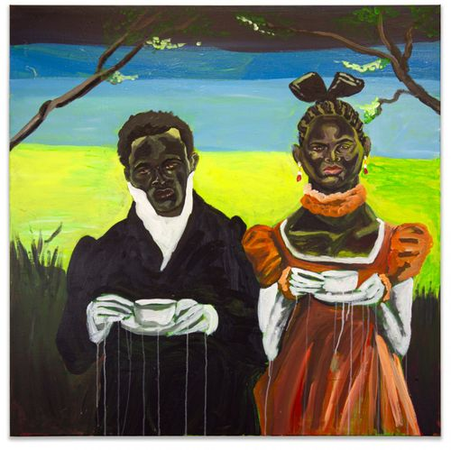 Couple with dark skin and dark hair set against a neon green landscape wearing old-fashioned smart attire and holding cups of tea