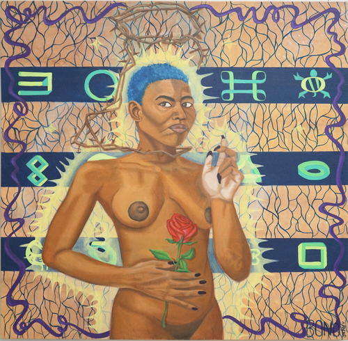 near-nude black woman with short blue hair holding a rose with thorns around her neck and rising up to create a nimbus shape above her head