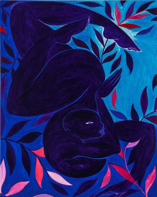 blue figure curled upside down with pink and blue leaves around them
