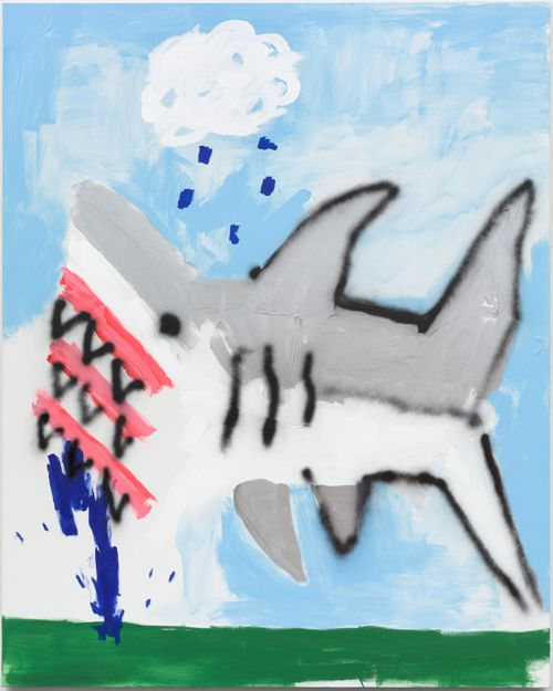 grey and white shark floating above green grass with a blue sky background and rain above