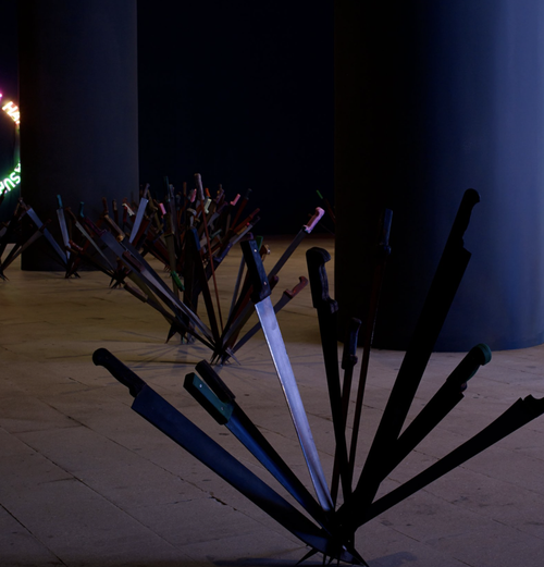 flowers made of long, sharp swords