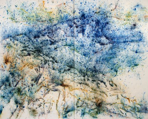 visible lines of blues and yellows splashed across a white canvas and surrounded by smaller splashes of paint