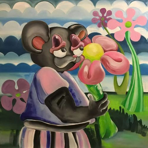 Alake painting grey bear with pink flower