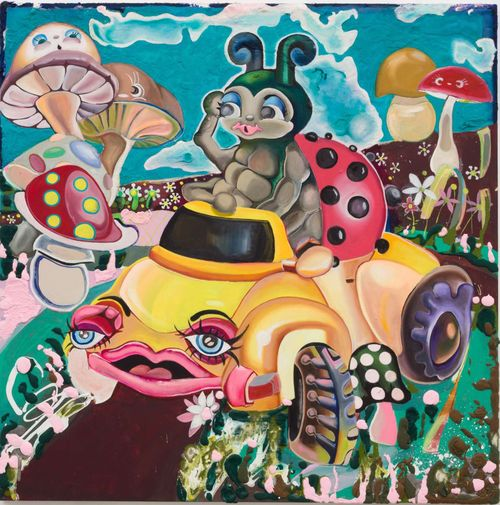 ladybug in a yellow car with blue eyes and pink lips fantasy world with giant mushrooms