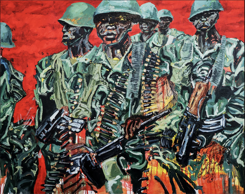 six heavily armed soldiers wearing green uniform against a red background
