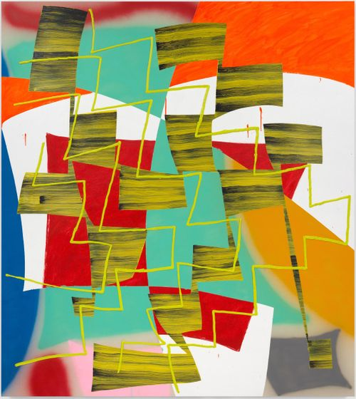 layers of geometric shapes of varying colours such as white, green and red overlapping one another, with thin yellow zigzag lines over the top