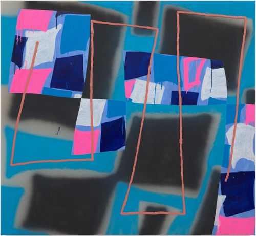 blue background with large black squares and smaller white and pink cubes