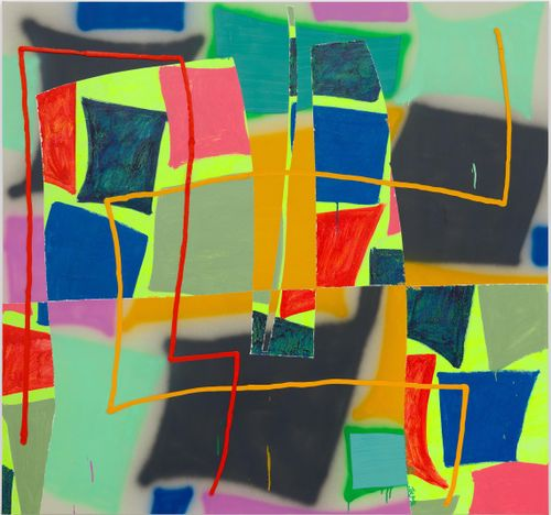 squares of various colours layered onto a bright green background with orange and red lines over them