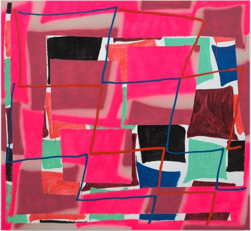 pink squares with blue and red zigzag lines over them and other squares of blues, greens and blacks