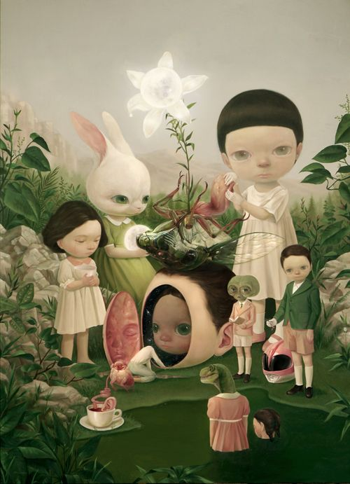 fantasy scene of greenery and rocks with big eyed child and several other miniature human hybrid creatures and animals in clothing