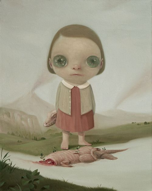 single child figure in dress with brown hair and huge green eyes stood next to beheaded reptile on ground before them with volcanos in the background
