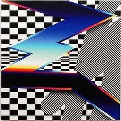 large zig-zag line of colours, mainly blue, stretched across a canvas with black and white squares and patterns