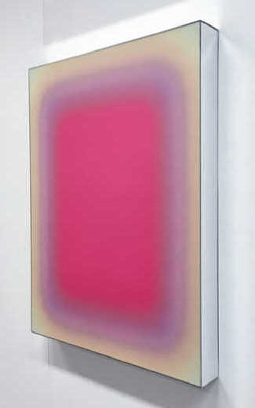 pink rectangle blending into a lighter pink tone within a beige rectangle