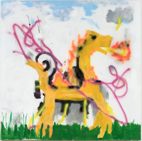 yellow dragon stood on grass with a blue and white sky behind it as it breathes fire
