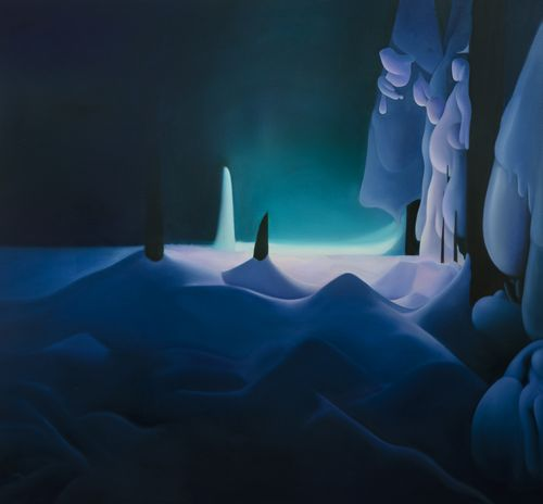 a dark snowy landscape with a line of trees on the right side of the image and a bright blue light emitting from the horizon where a thin, vertical pile of now juts upwards