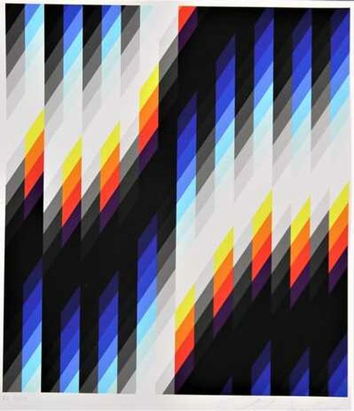 pixelated canvas made up of various colours creating various shapes and lines