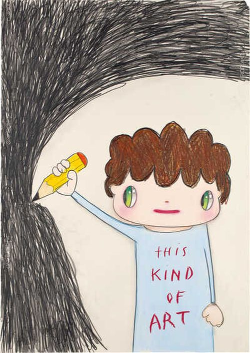 figure with short curly dark hair and large green eyes, holding up a pencil to a collection of scribbles and wearing a shirt that reads 'THIS KIND OF ART'