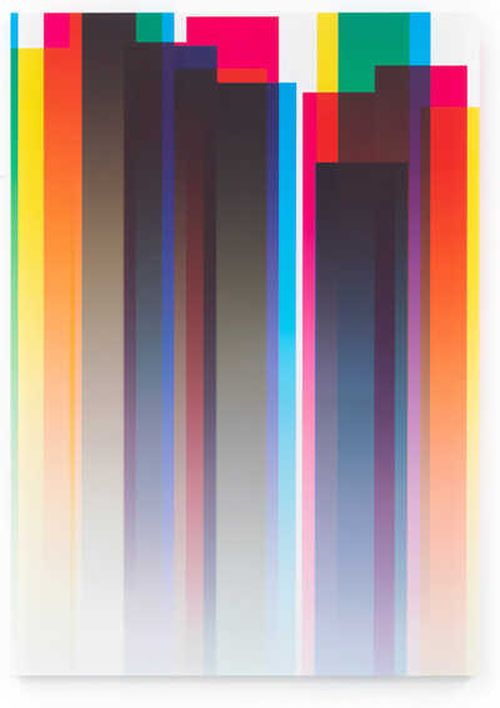 strips of different colours layered over one another