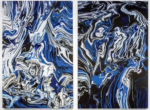 diptych of two similar paintings of blue and white swirls and mixes of paint on a black background