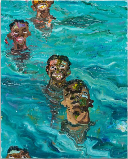 five black male heads emerge from a bright blue pool of water