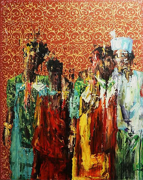 indistinct depiction of four figures grouped together in colourful clothing against a decorative background