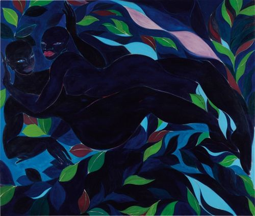 two curvaceous blue figures intertwined against a background of leaves