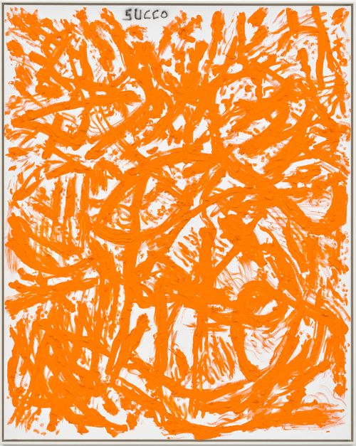 collection of orange lines covering a white canvas